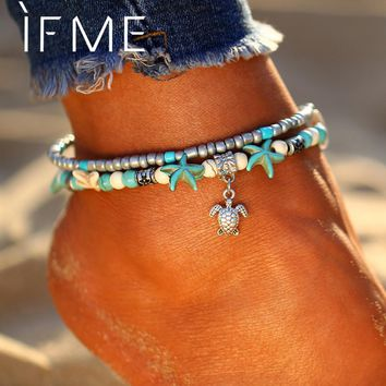 Bohemian Multiple Layers Starfish Turtle Beads Anklets