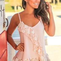 Blush Top with Flower Details