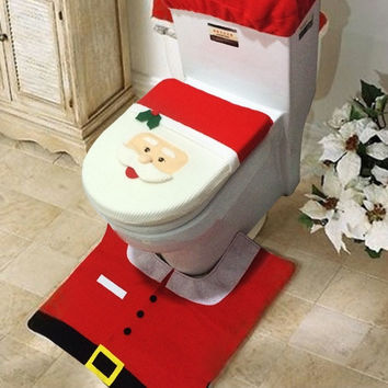 3 Pcs Christmas Decorations Happy Santa Toilet Cover and Rug Bathroom Set  D_L = 1712905220