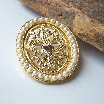 Etsy, Etsy Jewelry, Vintage Jewelry, Vintage Pin, Pearl and Gold Plated Brooch, Pearl Brooch, Fleur De Lis