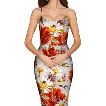 In The Wheat Field Olivia Grey Floral Pencil Dress