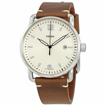 Fossil Mens FS5275 Brown Leather Band with Cream Dial Watch