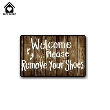"New Custom Welcome Please remove your shoes Printed Door mat, Carpet Floor Hall Bedroom Cool Pad Fashion Rug 23.6""x15.7"""
