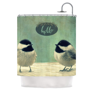 "Robin Dickinson ""Hello Birds"" Green Typography Shower Curtain"