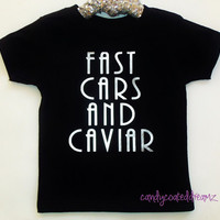 Fast Cars and Caviar funny metallic silver baby Onesuit or t-shirt cool tees boys trendy fashion girls boutique clothes shirts stylish swag