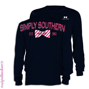 NEW Simply Southern Est 2005 Bow Girlie Bright Long Sleeve T Shirt