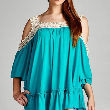 Jodifl Jade Crochet Cold Shoulder Tunic
