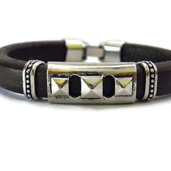 Leather bracelet for men women stainless steel Fathers Day