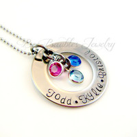 Hand Stamped Washer Birthstone Personalized Necklace - Mothers Necklace- Mothers Jewelry