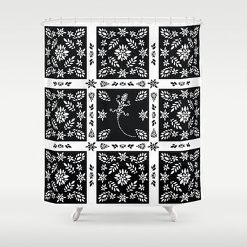 Black And White Floral Shower Curtain by Ornaart