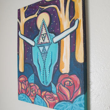 Mystical Cow Skull + Roses // Whimsical Landscape Painting