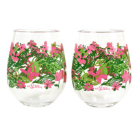 Lilly Pulitzer Acrylic Stemless Wine Glass Set: Tiger Lilly