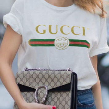 Casual Loose Gucci Print Red & Green Short Sleeve T Shirt