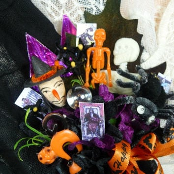 Vintage Halloween Corsage Spun Cotton Witch Spider Skeletons Crystal Ball Tarot Cards Decoration CIJ SALE