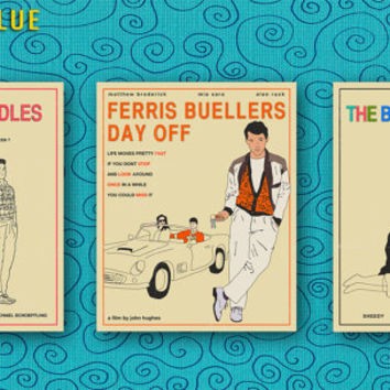 3 (8x10) Movie Poster Prints, Retro Pop Art for the home wall decor, 'Ferris Bueller', '16 Candles' and 'The Breakfast Club'