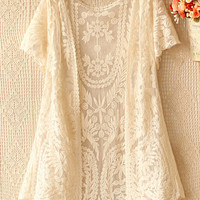 New Autumn Spring Fashion Women's Clothing Brand See Through White Black  Short Sleeve Crochet Net Lace Cardigan Female