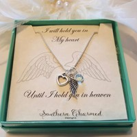Remembrance jewelry Sterling Silver necklace Angel wing Swarovski crystal Heart