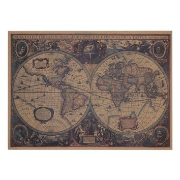 72 X 47.5m Large Classical Style Retro Paper Poster Old World Map Home Decor Stickers Art Word Map Paper Poster Wallpapers