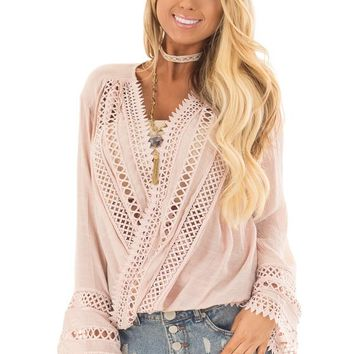 Dusty Blush Long Sleeve Surplice Top with Crochet Detail