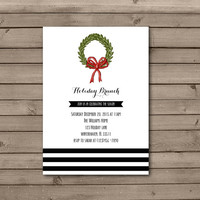 Christmas Wreath Holiday Brunch Invitations in White