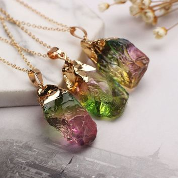 Jewelry Geode Druzy Crystal Chakra Point Healing Irregular Natural Quartz Pendant Necklace Colorful Stone