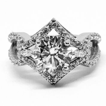 A Vintage Style 2.04CT Round Cut Russian Lab Diamond Engagement Ring