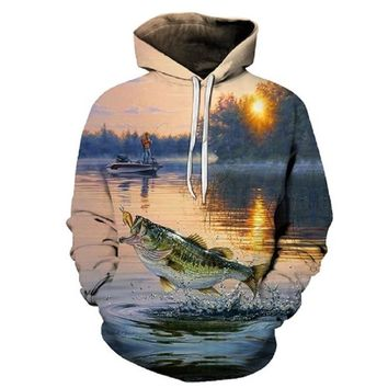 Autumn and winter new 3D fun fashion fishing hoodie, best gift for boyfriend husband and father Large Asian size S-6XL casual