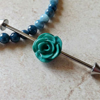 Industrial Barbell With Green Rose Body Jewelry Ear Jewelry Double Piercing
