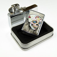 Windproof Customized Chrome Oil Lighter - Sugar Skull Roses - Collectable, Refillable, Damn Cool. :)