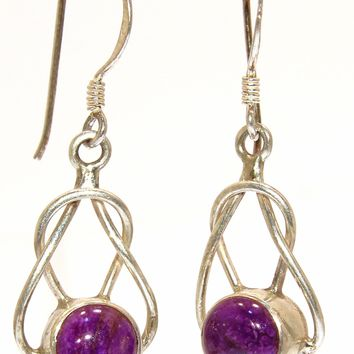 Sterling Silver Sugilite Knot Earrings