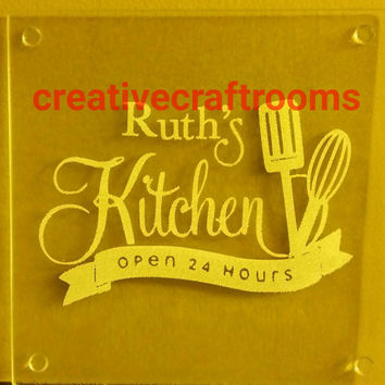 Personalized Mom's Kitchen square trivet, counter saver, hot plate, cutting board, Personalized Name, Grandma, Mema, Nonna, Open 24 hours