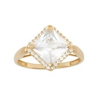 Cubic Zirconia Square Halo Engagement Ring in 10k Gold (White)