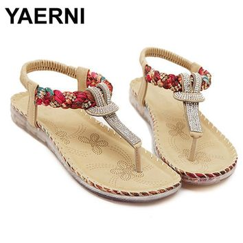YAERNI Flat shoes Women 2017 new summer national wind sandals Bohemian diamond big siz