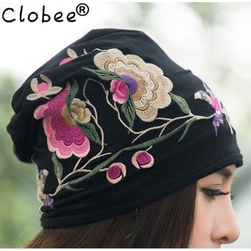 Cheap-clothes-china 2017 women autumn winter Mexican style vintage hippie black blue flowers embroidery hat skullies beanies