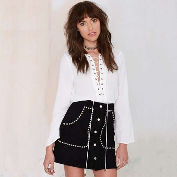 Studded Button Mini Skirt With Pocket
