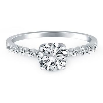 14K White Gold Diamond Engagement Ring with Shared Prong Diamond Accents, size 6
