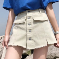 FREE SHIPPING Summer high-waisted denim leggings with skinny jeans and fake a-line skirt denim shorts