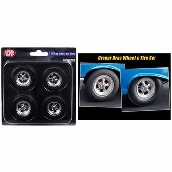 1957 Chevrolet Bel Air Hot Rod Cragar Drag Wheels and Tires Set of 4 1/18 by Acme