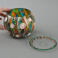 Handmade designer round glass painted colorful decorative candle holder