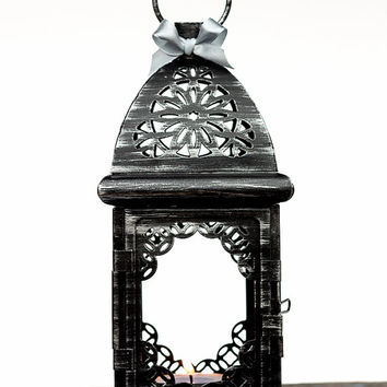 Black Silver Wedding Candle Lantern Centerpiece/ Morrocan Decor/ Filigree Metal Candle Holder/ Wedding Lighting