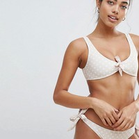 Missguided Tie Front Polka Dot Bikini at asos.com