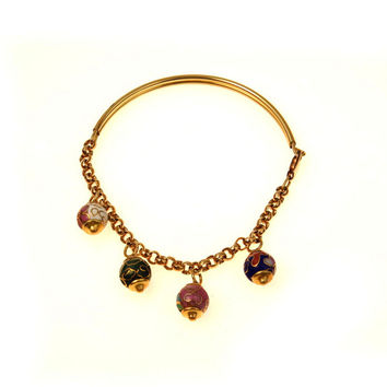 Half Bangle Half Chain Cloisonne Charm Bracelet Gold Filled