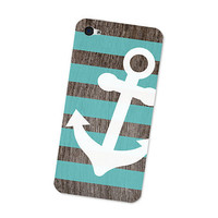Turquoise Nautical Anchor iPhone 4S Skin: iPhone 4 Skin Decal - Cell Phone Blue and Brown Wood iPhone Skin