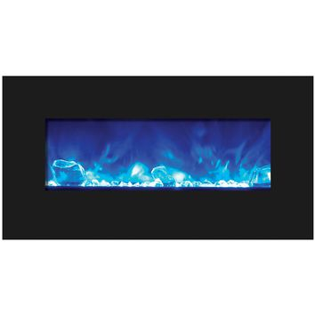 Amantii Fire & Ice Built-in/Wall Mount Electric Fireplace (WM‐BI‐FI‐34‐4423‐BLKGLS)