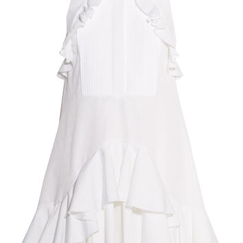 Ruffled piqué-trimmed cotton-jacquard dress | Alexander McQueen | US | THE OUTNET