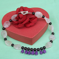 Rose Quartz, Purple Jade and Garnet Necklace