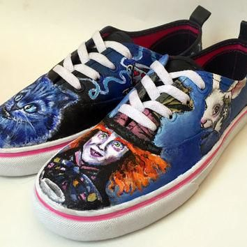 Hand Painted Canvas Shoes - Alice In Wonderland theme Tim Burton