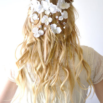 White wedding hair accessory, Cascade, Bridal crown, flower head wreath, woodland hair piece, Hair Wreath, Circlet, White - APHRODITE