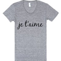 je t'aime-Female Athletic Grey T-Shirt