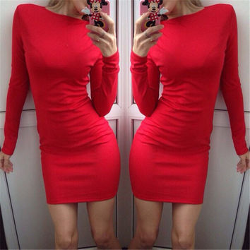Red Casual Long Sleeve Bodycon Mini Dress